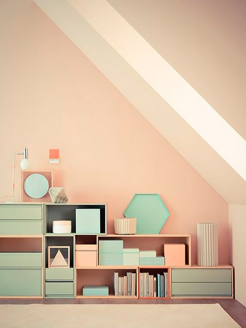 Room, Interior design, Wall, Furniture, Pink, Ceiling, Turquoise, Shelf, House, Design,