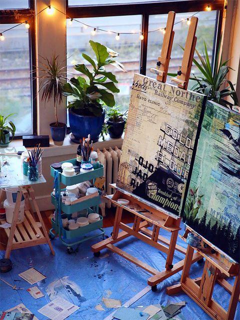 Lighting, Flowerpot, Easel, Teal, Houseplant, Majorelle blue, Hardwood, Blackboard, Paint, Menu,