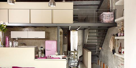 Room, Interior design, Pink, Floor, Purple, Magenta, Ceiling, Interior design, Coffee table, Light fixture,