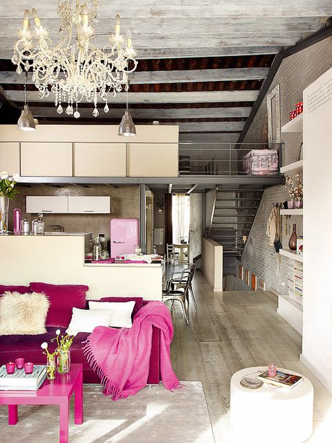 Interior design, Room, Ceiling fixture, Ceiling, Light fixture, Floor, Interior design, Pink, Chandelier, Furniture,