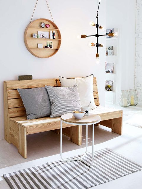 Wood, Room, Interior design, Floor, White, Wall, Furniture, Flooring, Home, Pillow,