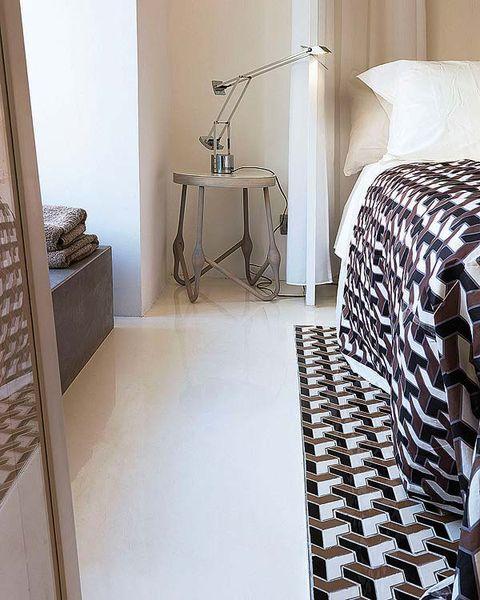 Floor, Room, Interior design, Flooring, Linens, Lamp, Bed sheet, Home accessories, Tile flooring,