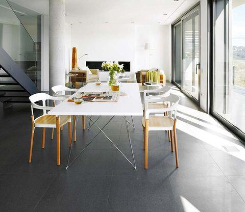 Floor, Room, Interior design, Flooring, Table, Furniture, Glass, Ceiling, Real estate, Chair,