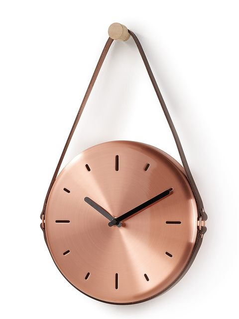 Clock, Fashion accessory, Copper, Triangle, Home accessories, Metal,