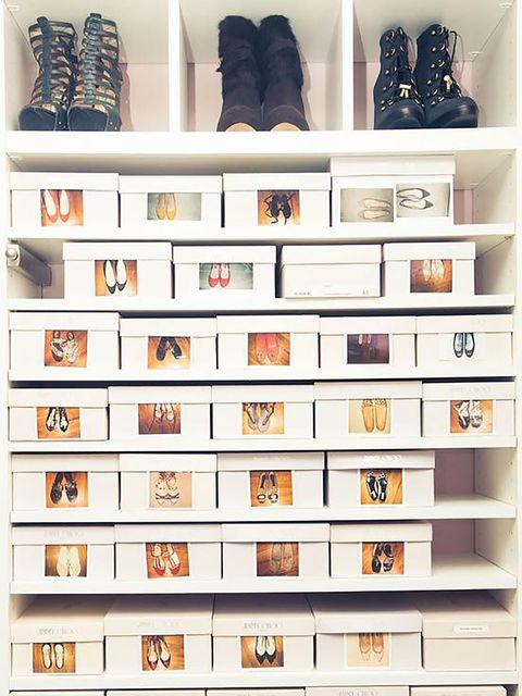 White, Collection, Fashion, Grey, Shelving, Shelf, Rectangle, Boot, Walking shoe,