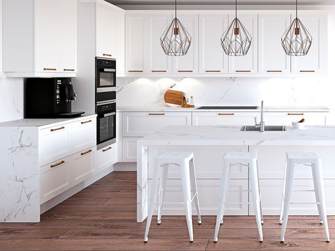 Furniture, White, Room, Kitchen, Dining room, Countertop, Interior design, Table, Cabinetry, Floor,