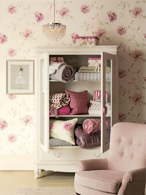 Room, Interior design, Textile, Pink, Wall, Purple, Interior design, Wallpaper, Peach, Shelving,