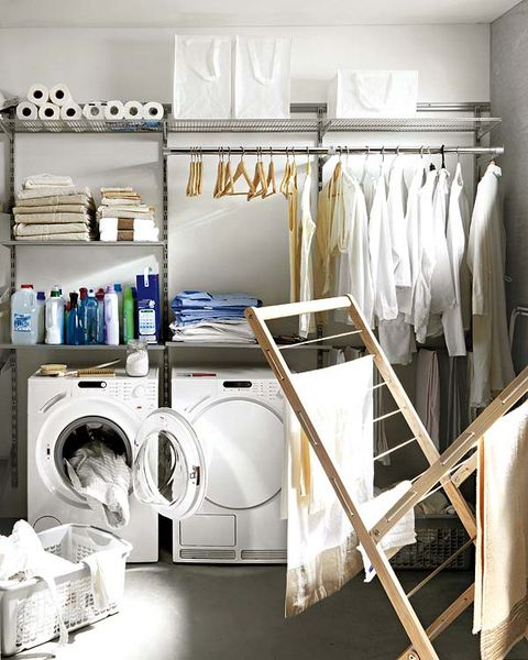 Laundry room, Shelf, Room, Laundry, Clothes dryer, Furniture, Closet, Shelving, Clothes hanger, Interior design,