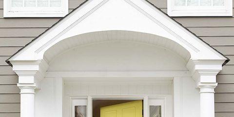 Flowerpot, Yellow, Property, House, Real estate, Door, Wall, Building, Home door, Home,