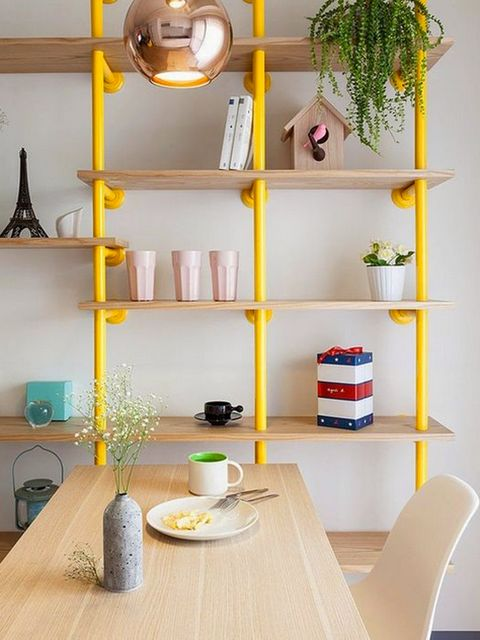 Yellow, Shelving, Shelf, Room, Furniture, Dishware, Serveware, Interior design, Porcelain, Collection,