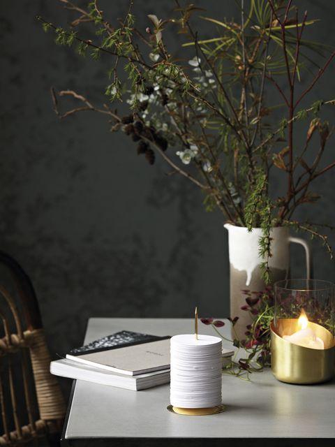 Branch, Lighting, Twig, Candle, Still life photography, Office supplies, Interior design, Centrepiece, Flower Arranging, Still life,