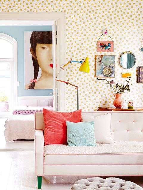 Room, Wall, Furniture, Living room, Interior design, Wallpaper, Yellow, Pink, Table, Home,
