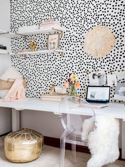 Room, Wallpaper, Interior design, Wall, Furniture, Table, Living room, Design, Pattern, Desk,