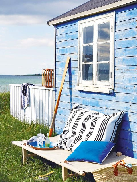Blue, House, Property, Turquoise, Furniture, Azure, Cottage, Home, Siding, Outdoor furniture,