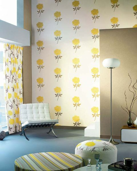 Room, Interior design, Yellow, Textile, Wall, Lampshade, Floor, Lamp, Interior design, Furniture,