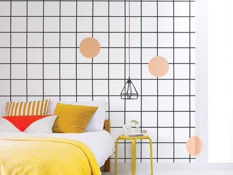 Yellow, Orange, Room, Interior design, Wall, Line, Pillow, Amber, Peach, Cushion,