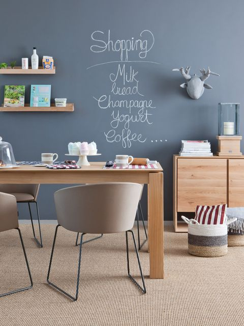 Room, Furniture, Table, Wall, Interior design, Floor, Flooring, Blackboard, Shelving, Home,