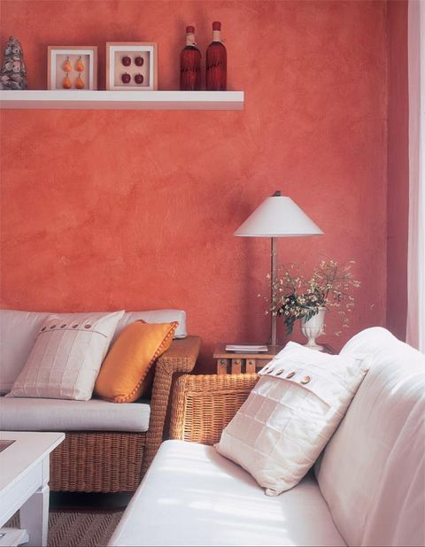 Room, Interior design, Wall, Textile, Furniture, Orange, Home, Linens, Interior design, Lamp,