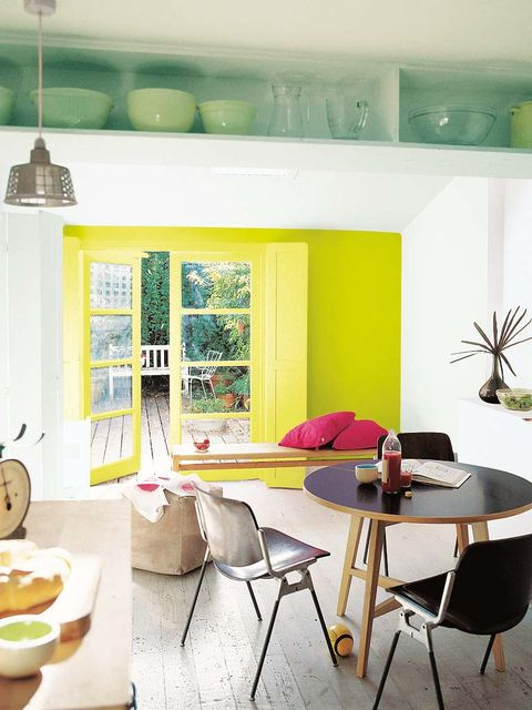 Green, Room, Interior design, Yellow, Table, Furniture, Wall, Dishware, Home, Floor,