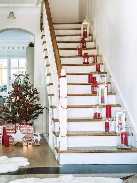 Stairs, White, Home, Property, Christmas decoration, Red, Christmas tree, Interior design, Tree, Room,
