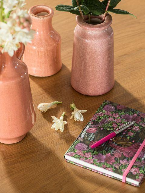Flowerpot, Petal, Purple, Peach, Lavender, Vase, Pottery, earthenware, Interior design, Flowering plant,