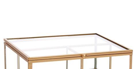 Table, Coffee table, Furniture, Rectangle, Glass, Metal,