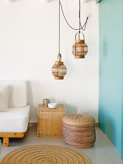Wall, Room, Interior design, Teal, Light fixture, Home accessories, Turquoise, Interior design, Wicker, Ceiling fixture,