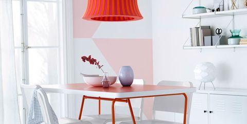 comedor modernos en blanco y rosa