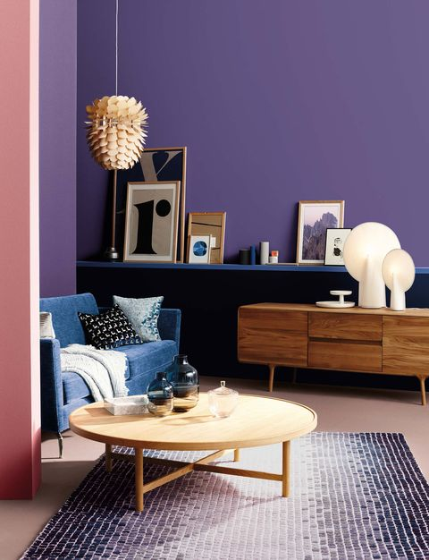 Living room, Room, Furniture, Interior design, Coffee table, Blue, Purple, Table, Yellow, Violet,