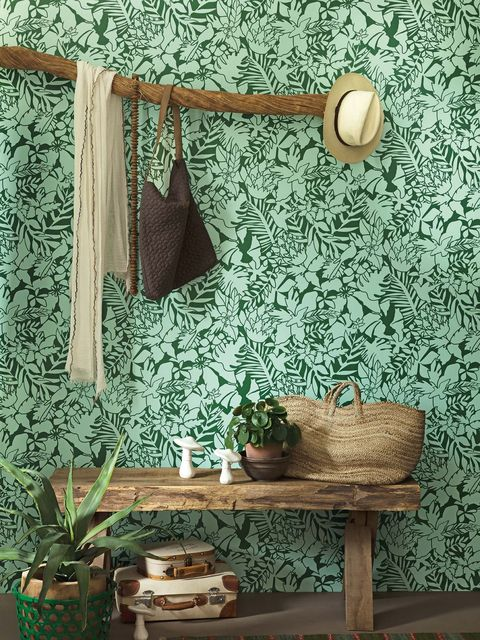 Green, Wall, Wallpaper, Interior design, Shelf, Room, Turquoise, Textile, Furniture, Curtain,