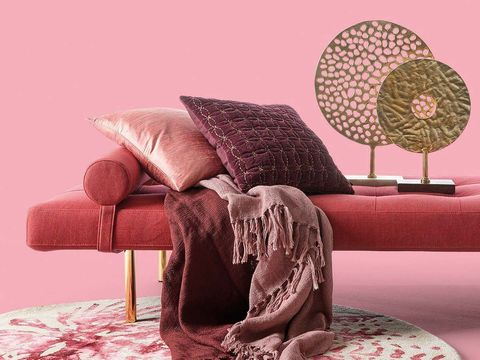 Furniture, Pink, Couch, Room, Chair, Interior design, Living room, Textile, Table, studio couch,