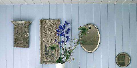 Blue, Wall, Majorelle blue, Flowerpot, Lavender, Azure, Purple, Botany, Interior design, Vase,