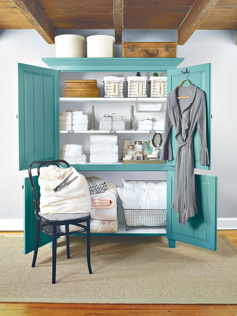 Blue, Room, Textile, Teal, Interior design, Turquoise, Shelving, Aqua, Ceiling, Clothes hanger,