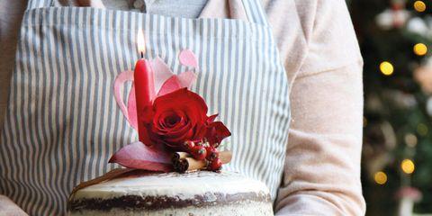 Red, Cake, Hand, Food, Dessert, Flower, Wedding ceremony supply, Plant, Table,