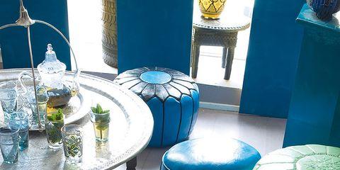 Blue, Turquoise, Table, Interior design, Teal, Aqua, Colorfulness, Azure, World, Majorelle blue,