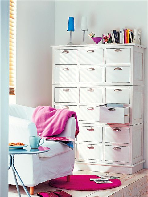 Blue, Room, Wood, Drawer, Chest of drawers, Furniture, White, Interior design, Red, Pink,