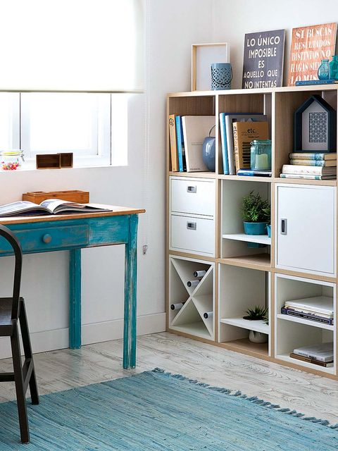 Room, Shelf, Interior design, Furniture, Shelving, Floor, Teal, Table, Turquoise, Aqua,