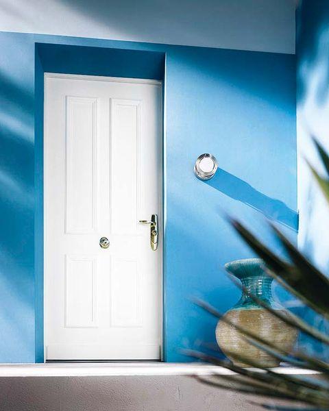 Blue, Door, Wall, Home door, Teal, Turquoise, Fixture, Handle, Azure, Door handle,