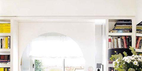 Green, Yellow, Room, Interior design, Shelf, Shelving, Home, Interior design, Bookcase, Publication,