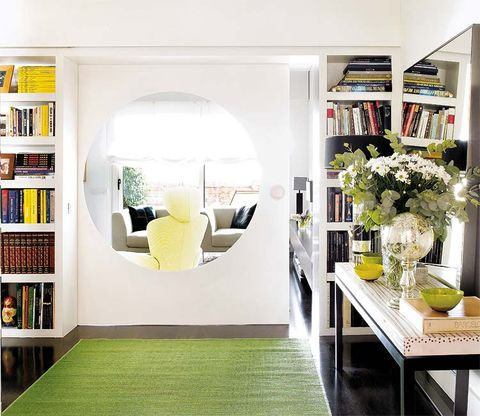 Yellow, Green, Interior design, Shelf, Room, Shelving, Furniture, Table, Interior design, Bookcase,