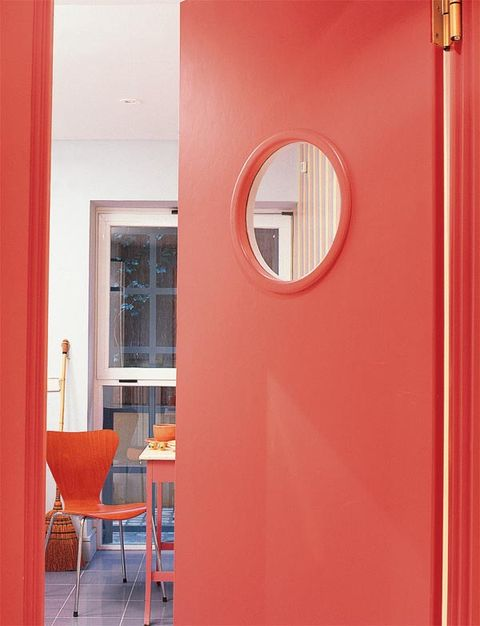 Red, Interior design, Room, Orange, Fixture, Material property, Coquelicot, Rectangle, Arch, Paint,