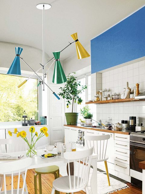 White, Room, Interior design, Furniture, Green, Yellow, Turquoise, Blue, Property, Kitchen,