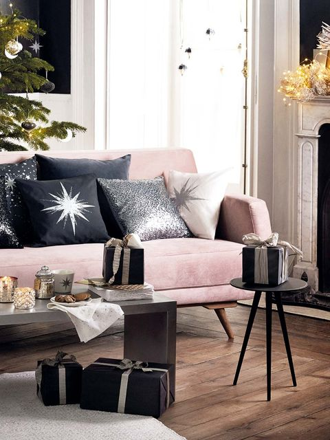 Furniture, Living room, Room, Interior design, Coffee table, Table, Couch, Home, Pink, Lighting,