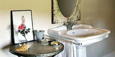 Bathroom sink, Room, Plumbing fixture, Table, Bathroom cabinet, Porcelain, Sink, Tap, Ceramic, Home accessories,