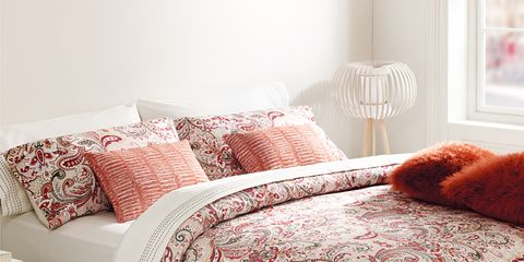 Room, Interior design, Bed, Textile, Bedroom, Bedding, Red, Linens, Wall, Bed sheet,