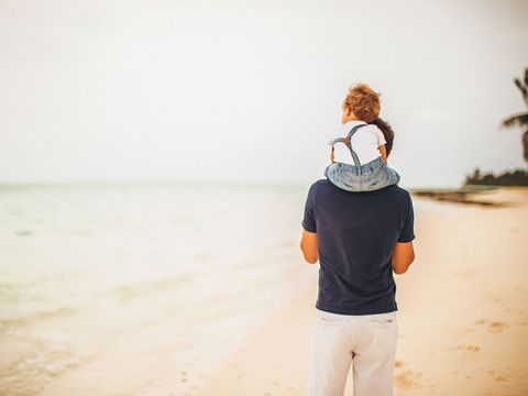 Sleeve, People in nature, Back, Bermuda shorts, Beach, Sand, Palm tree, Arecales, Active shirt,