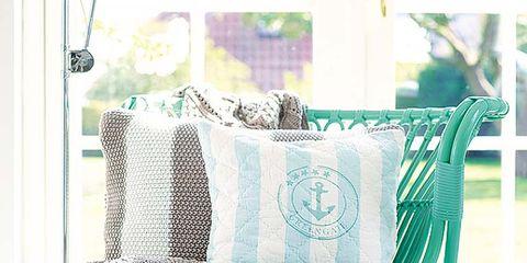 Green, Textile, Teal, Turquoise, Aqua, Linens, Cushion, Creative arts, Armrest, Throw pillow,