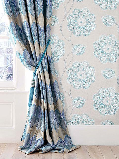 Textile, Interior design, Teal, Room, Turquoise, Aqua, Interior design, Window treatment, Wallpaper, Peach,