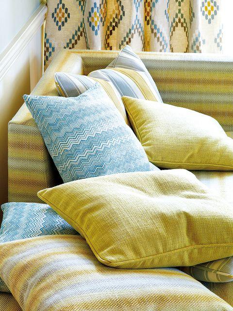 Yellow, Textile, Room, Interior design, Cushion, Linens, Pillow, Throw pillow, Bedding,