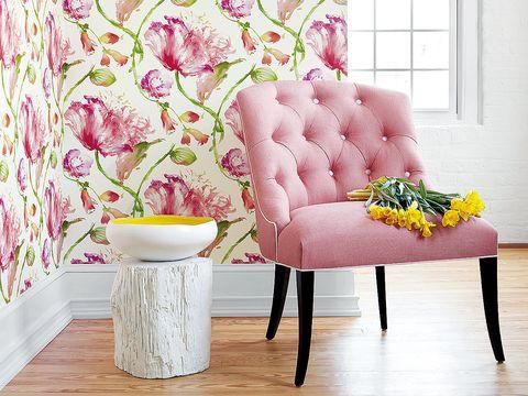 Wood, Interior design, Green, Room, Wall, Floor, Pink, Flooring, Purple, Interior design,